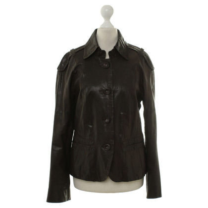 Marc Cain Leather jacket in dark brown