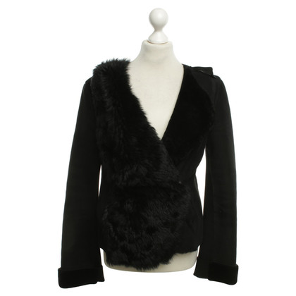 Armani Leather jacket with fur detail