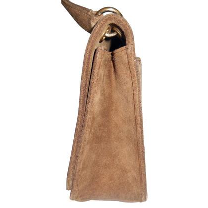 Chanel light brown quilted suede shoulder bag