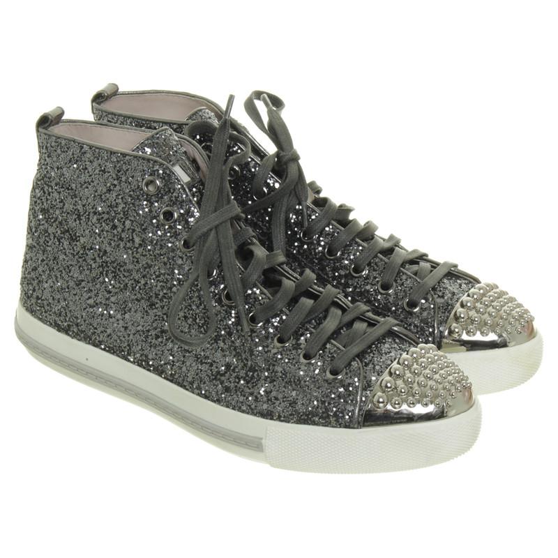 miu miu sneaker mit glitzer partikeln second hand miu miu sneaker mit glitzer partikeln