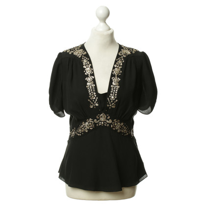 Alice By Temperley Embroidered tunic blouse in black