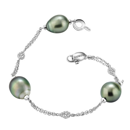 Damiani Bracciale in oro bianco con perle di Tahiti
