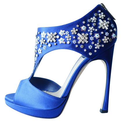 Christian Dior Sandali in raso blu di Dior Parure