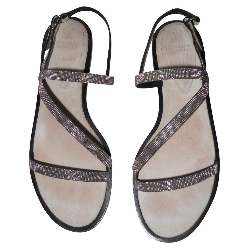 brunello cucinelli flache sandalen second hand brunello cucinelli flache sandalen gebraucht. Black Bedroom Furniture Sets. Home Design Ideas