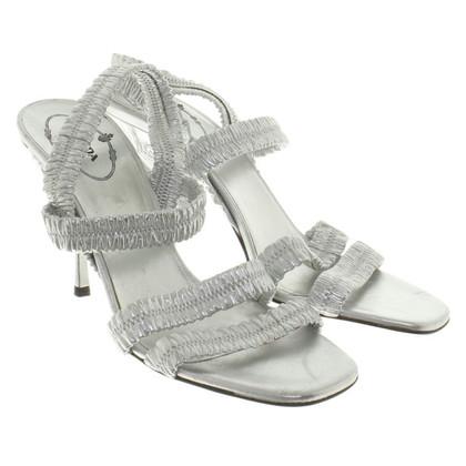 Prada Silberfarbene Sandaletten