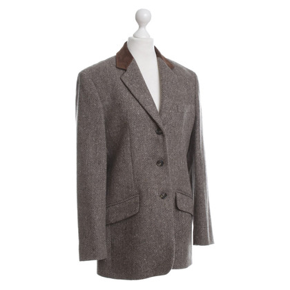 Max Mara Wool Blazer with suede leather collar