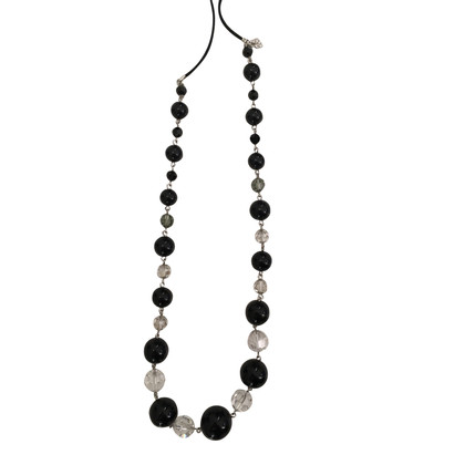 Swarovski Long necklace in black and white