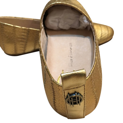 House of Harlow Goldfarbene Leder-Ballerinas