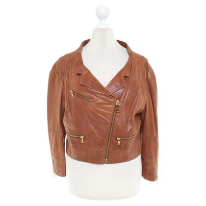 Prada Lichtbruin Short Leather Jacket