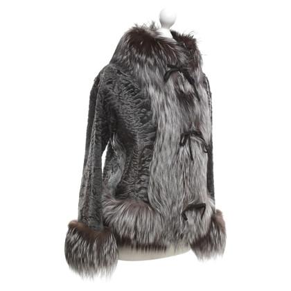 Blumarine veste de la fourrure en gris / marron