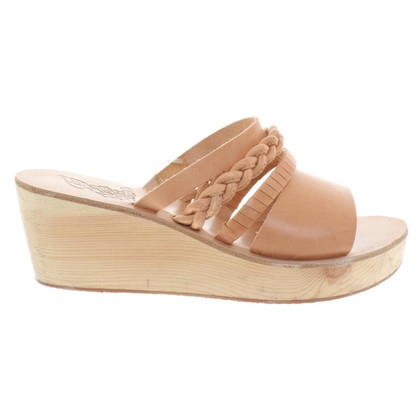 Ancient Greek Sandals Zeppe in Nude
