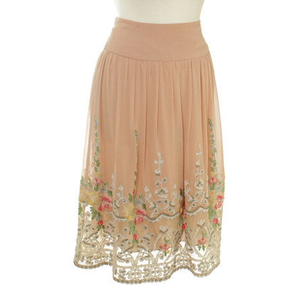 Ralph Lauren Silk skirt with floral embroidery