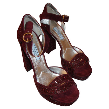Prada Sandals 36 bordeaux Glitter Plateau