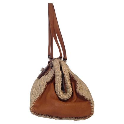 Miu Miu Fluweel tas met leer