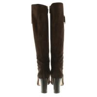 Gucci stivali di camoscio in marrone