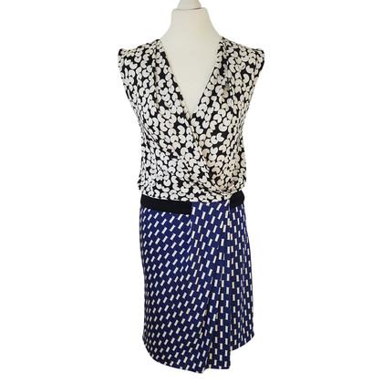 Diane von Furstenberg zijden jurk in een patroonmix