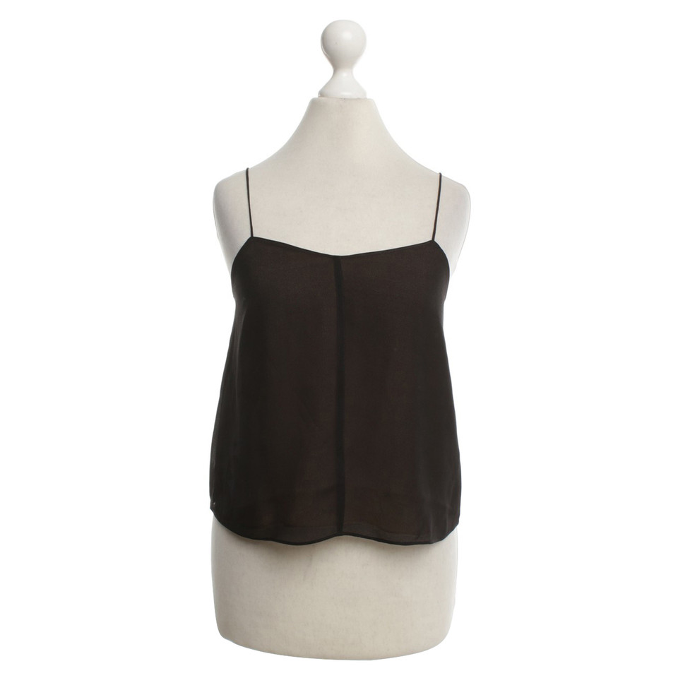 T by Alexander Wang Silk top in black / nude