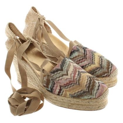 Missoni Wedges sandals with plaited raffia