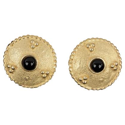 Oscar de la Renta Orecchini a clip color oro con pietra