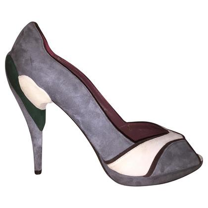 Miu Miu Grey open-toe pumps