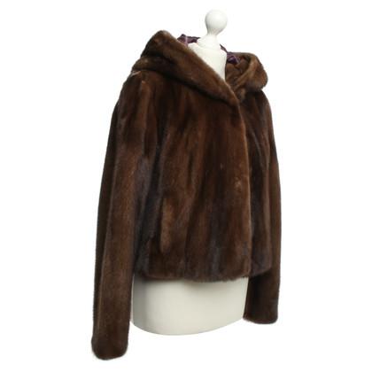 Utzon giacca visone con cappuccio