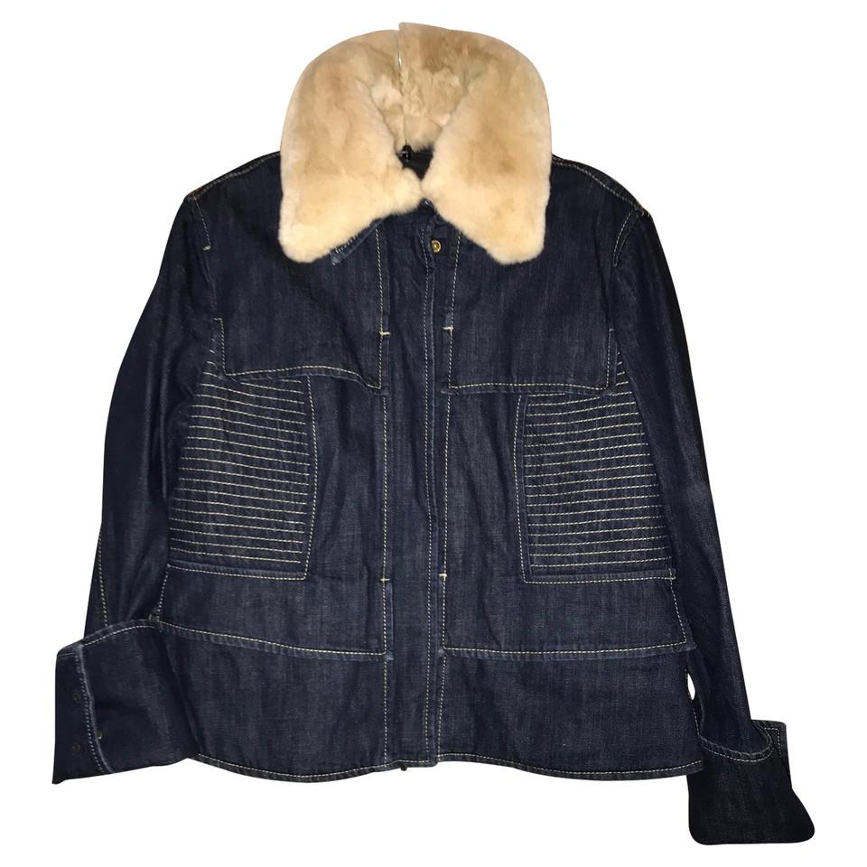 hugo boss veste en jean avec col de fourrure v ritable. Black Bedroom Furniture Sets. Home Design Ideas