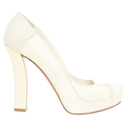 Gianmarco Lorenzi Plateau Pumps in cream