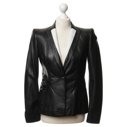 Just Cavalli Leren jas in zwart