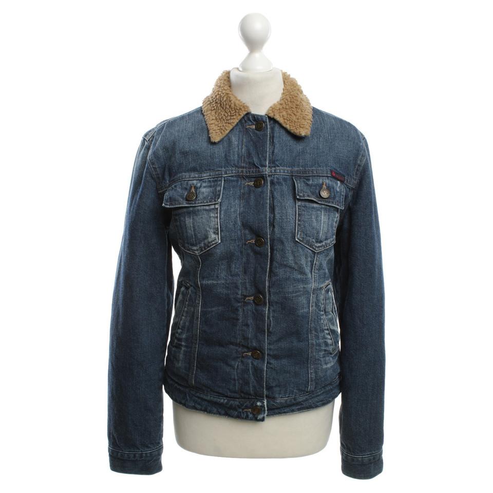 dolce gabbana veste en jean avec fausse fourrure. Black Bedroom Furniture Sets. Home Design Ideas