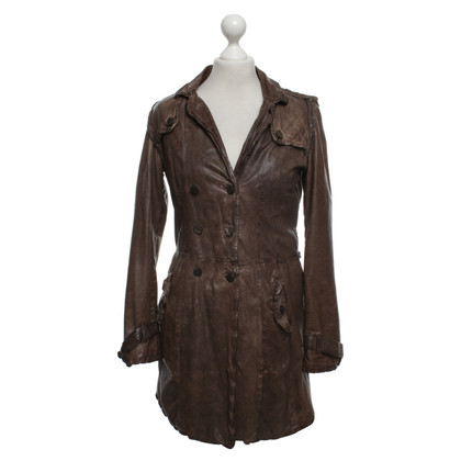 Giorgio Brato Leather coat in brown