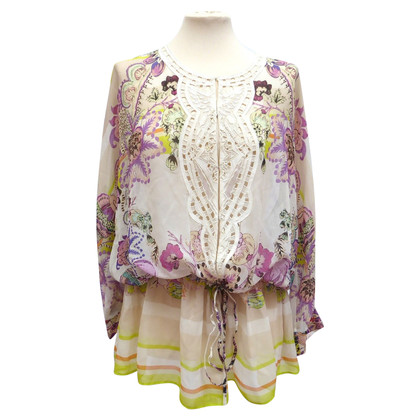 Roberto Cavalli Silk blouse with lace