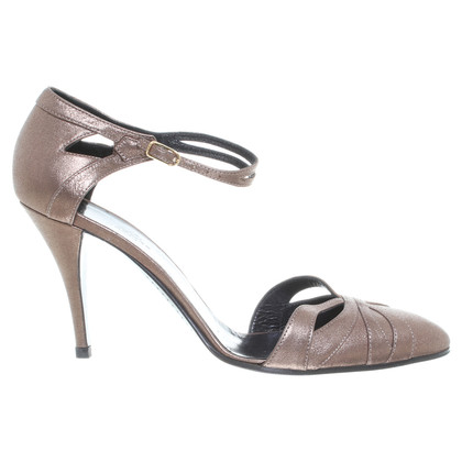 Hermès Open pumps in bruin metallic