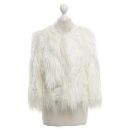 DKNY giacca di pelliccia Faux in crema