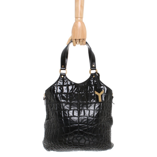 7bcfd2ccb21 Yves Saint Laurent Tote bag Linen in Black - Second Hand Yves Saint ...