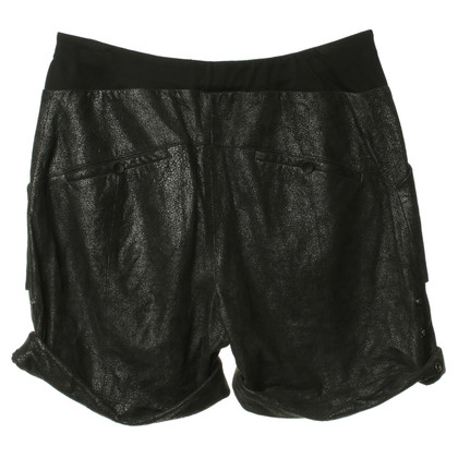 Helmut Lang black leather shorts
