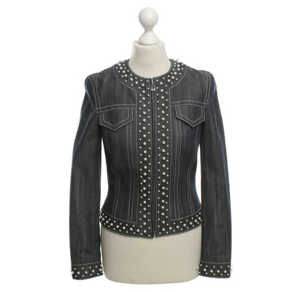 Escada Denim jacket with faux pearls