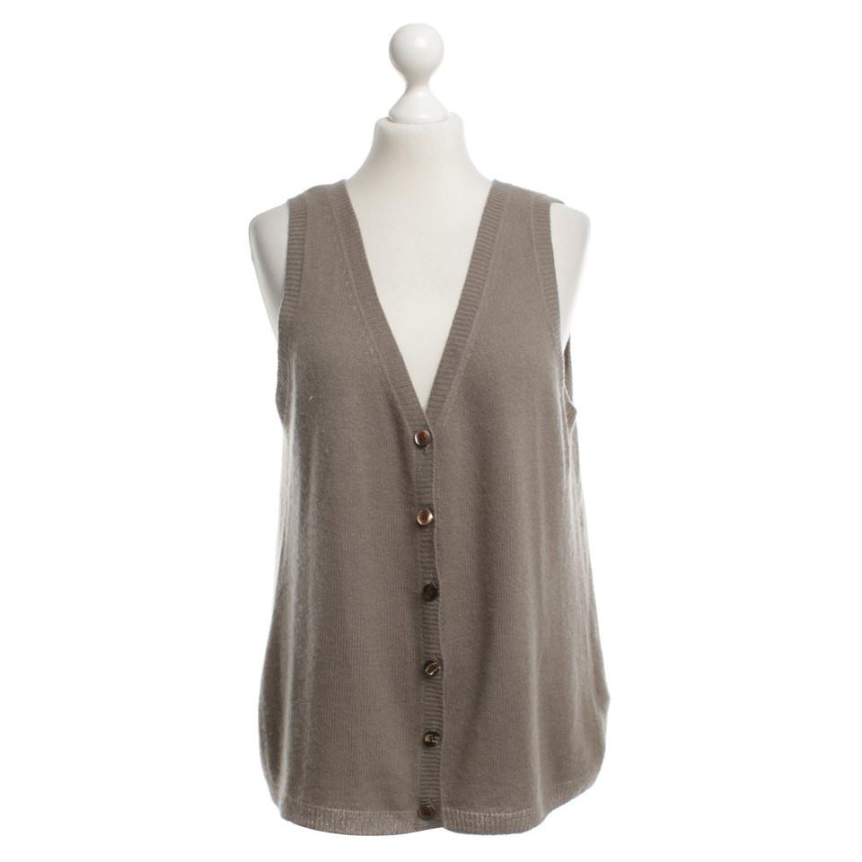 René Lezard Cashmere vest in olive