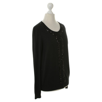 Rena Lange Black Cardigan with sequin trim
