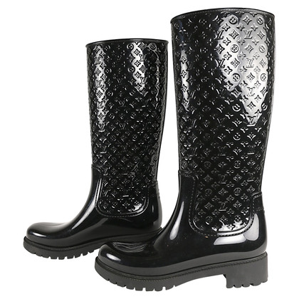 Louis Vuitton Rubber boots / rain boots in black lacquer