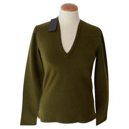Prada Olivgrüner V-Neck Pullover