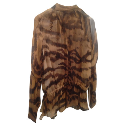 Roberto Cavalli Silk blouse with leopard print