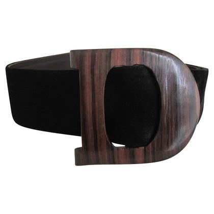 Christian Dior Cintura in pelle scamosciata nera