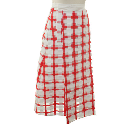 Marni Geruite rok in rood/wit