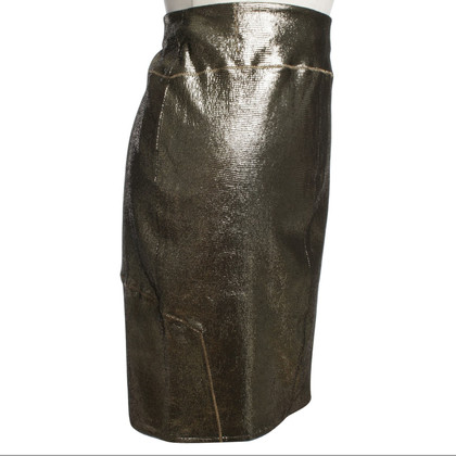 Faith Connexion Gold colored leather skirt