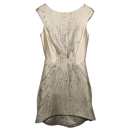 Amanda Wakeley Short dress in silver / ecru