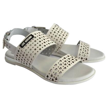 Moschino Love Sandales en cuir en blanc