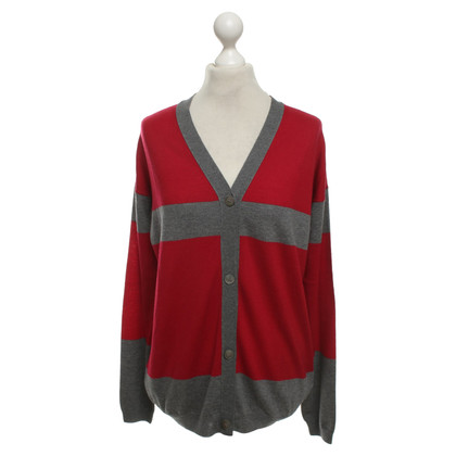 Jil Sander Strickjacke in Rot/Grau