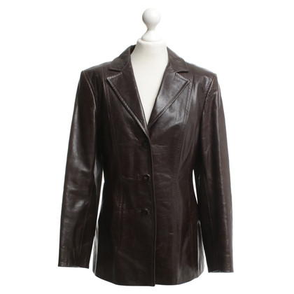 Marc Cain Leather blazer in dark brown