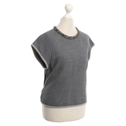 Phillip Lim top grigio con strass