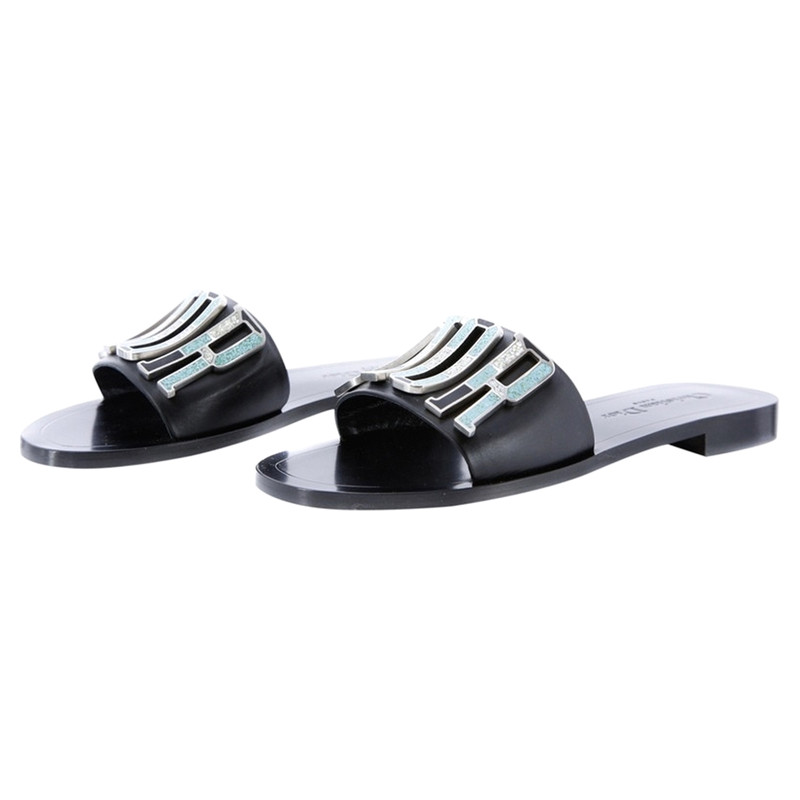 Dior Sandals Leather in Black - Second
